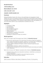 Resume Templates  Reliability Engineer My Perfect Resume