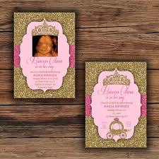 pink and gold baby shower invitations pink gold glitter princess baby shower invitations