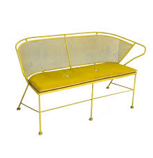 Repainting Wrought Iron Furniture by Mid Century Modern Painted Wrought Iron Outdoor Bench Ebth