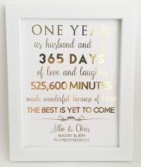 1st anniversary gifts for husband gold foil print 1st anniversary gift for husband or