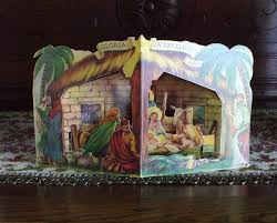 vintage nativity fold out 3d pop up card manger