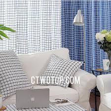 Navy Blue Plaid Curtains Fabric Half Price Cheap Blue And White Plaid Curtains