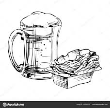 beer in a glass mug and snack french fries hand drawing for