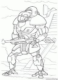 coloring page big war robot