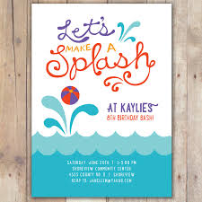 splash custom digital birthday pool invitation invite