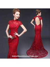 Burgundy Red Open Back Trailing Prom Dress Mandarin Collar Chinese