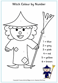 witch colour number printable pdf link halloween