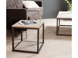 bout de canape bout de canapé carré en bois et métal avec tablette l48 5cm lucile