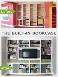 the built in bookcase intentional style rather square
