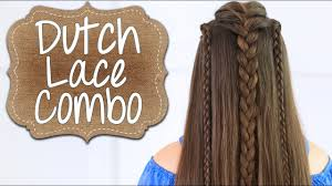 how to create a dutch lace braid combo long hairstyles youtube