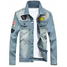 light distressed denim jacket light blue chest pocket patch design distressed denim jacket 2xl