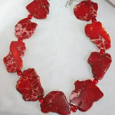 red big necklace images Raw citrine quartz statement necklace from 123gemstones on etsy jpg