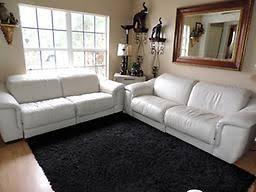 Grey Leather Reclining Sofa by Natuzzi