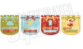 spread happiness love joy cheer not germs sanitizer labels