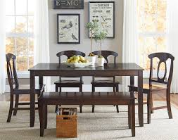 6 piece dining table set with open oval splat back chairs and