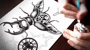 speed drawing and painting of stag beetle tattoo flash youtube