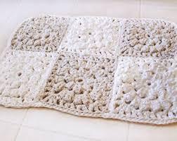 Square Bathroom Rug Crochet Rug Small Crochet Rug Squares Crochet Doily Rug
