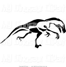 clipart of a black and white paintbrush sketch of a t rex walking