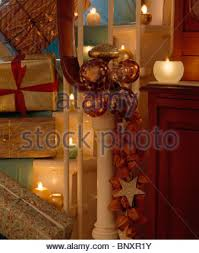 Christmas Lights For Stair Banisters Christmas Decorations On A Staircase Banister Stock Photo Royalty
