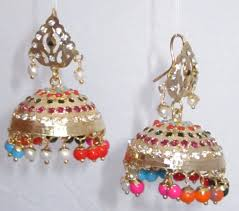punjabi jhumka earrings buy real look gold plated jadau jhumka earrings multicolor online