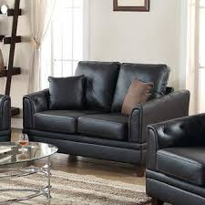 Black Sofa Pillows by Esofastore Modern Top Grain Leather Sofa Loveseat 2pc Sofa Set