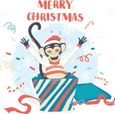 funny merry christmas card with monkey jumping out of box stock