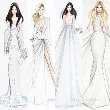 Design Dresses Drawn Bride Model Pencil And In Color Drawn Bride Model