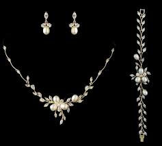 wedding jewelry freshwater pearl and cz gold or gold wedding jewelry set