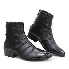 best stylish new black goth punk fashion dress ankle boots men