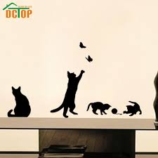 popular cat wall decal buy cheap lots from china playing ball cats wall stickers butterflies adhesive home decor vinyl decals china