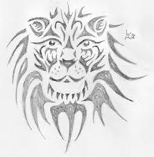 motivational tribal lion face tattoo drawing for girls picsmine