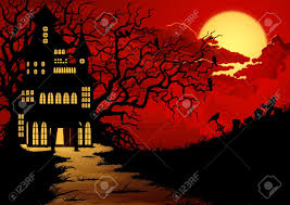 halloween background with haunted house and cemetery royalty free