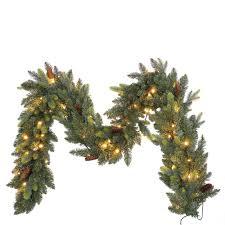 kurt adler 9 ft pre lit led point pine green garland p7605led