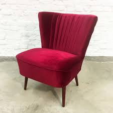 Red Club Chair Cherry Red Velvet Cocktail Chair 1960s 66517