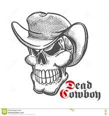 cowboy hat halloween skull of dead cowboy in hat sketch symbol stock vector image