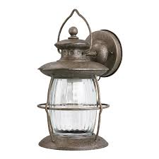 Antique Outdoor Lights by Shop Portfolio 12 5 8 In Antique Pewter Outdoor Wall Light At