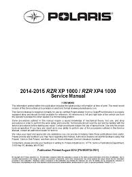 2014 15 Ranger Rzr 1000 Xp Xp4 Service Manual Transmission