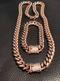 rose gold link necklace images Mens cuban link bracelet chain set 14k rose gold plated 12mm jpg