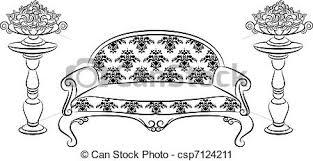 vector clip art of sofa for vintage interior vector illustration