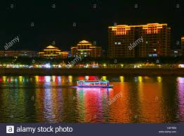 scenery with neon decorations at meizhou guangdong china