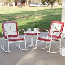 full size of awesome cherry red retro patio pc metal rocker rocking chair set cushion for
