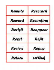 english worksheets prefixes re word and definition match