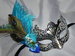 peacock masquerade mask masquerade mask in black and silver with teal turquoise and royal