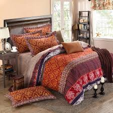 Moroccan Bed Sets Gold Brown And Garnet Rococo Pattern Tribal Print Retro Indian