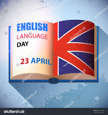 Flag Book English Language Day Holiday Celebration Card Stock Vector