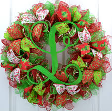 merry christmas wreath front door holiday wreath red and lime