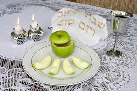 rosh hashanah seder plate rosh hashanah seder table stock photo