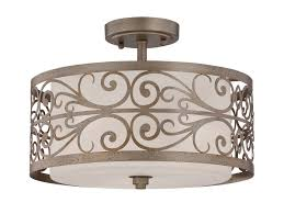 Jeremiah Lighting Chandeliers Lighting 35853 Ao 3 Light Drum Shade Semi Flush Mount In Athenian Obol