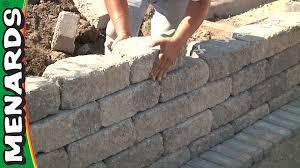 Garden Retaining Wall Blocks by Retaining Wall How To Build Menards Youtube