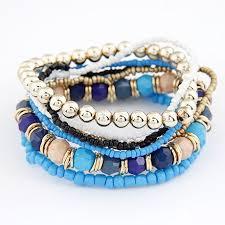 elastic bead bracelet images Lemoer korean designer fashion bohemia beads beeaded multi strand jpg